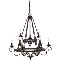 Noble 9 Light 32 inch Rustic Black Foyer Chandelier Ceiling Light