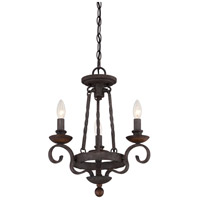 Noble 3 Light 15 inch Rustic Black Chandelier Ceiling Light