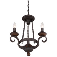 Quoizel NBE5303RK Noble 3 Light 15 inch Rustic Black Chandelier Ceiling Light alternative photo thumbnail