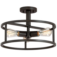 New Harbor 3 Light 15 inch Western Bronze Semi-Flush Mount Ceiling Light