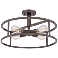 New Harbor 4 Light 18 inch Western Bronze Semi-Flush Mount Ceiling Light
