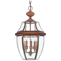 Newbury 3 Light 13 inch Aged Copper Outdoor Hanging Lantern