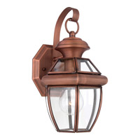 Quoizel Newbury 1 Light Outdoor Wall Lantern in Aged Copper NY8315ACFL