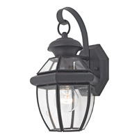 Quoizel Newbury 1 Light Outdoor Wall Lantern in Mystic Black NY8315KFL