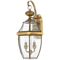 Quoizel Lighting Newbury 2 Light Outdoor Wall Lantern in Antique Brass NY8317A