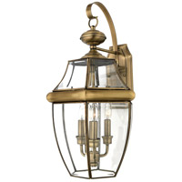 Quoizel Lighting Newbury 3 Light Outdoor Wall Lantern in Antique Brass NY8318A