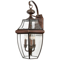 Quoizel Lighting Newbury 3 Light Outdoor Wall Lantern in Aged Copper NY8318AC