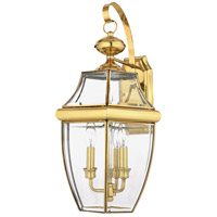 Quoizel Lighting Newbury 3 Light Outdoor Wall Lantern in Polished Brass NY8318B