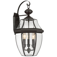 Quoizel Lighting Newbury 3 Light Outdoor Wall Lantern in Medici Bronze NY8318Z