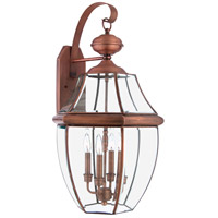 Quoizel Lighting Newbury 4 Light Outdoor Wall Lantern in Aged Copper NY8339AC