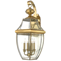 Newbury 4 Light 29 inch Polished Brass Outdoor Wall Lantern