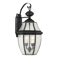 Quoizel Newbury 2 Light Outdoor Wall Lantern in Mystic Black NY8411K