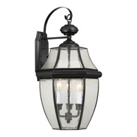 Newbury 3 Light 23 inch Mystic Black Outdoor Wall Lantern