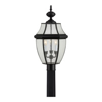Quoizel Newbury 3 Light Outdoor Post Lantern in Mystic Black NY9012K