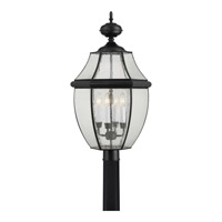 Quoizel Newbury 4 Light Outdoor Post Lantern in Mystic Black NY9016K