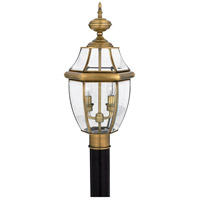 Quoizel Lighting Newbury 2 Light Outdoor Post Lantern in Antique Brass NY9042A