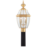 Quoizel Lighting Newbury 2 Light Outdoor Post Lantern in Polished Brass NY9042B