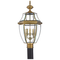 Quoizel Lighting Newbury 3 Light Outdoor Post Lantern in Antique Brass NY9043A