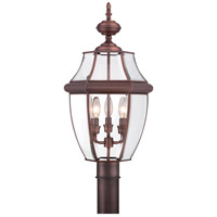 Quoizel Lighting Newbury 3 Light Outdoor Post Lantern in Aged Copper NY9043AC