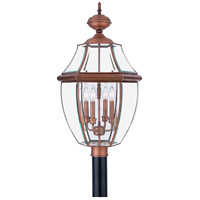 Newbury 4 Light 30 inch Aged Copper Outdoor Post Lantern