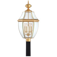 Quoizel Lighting Newbury 4 Light Outdoor Post Lantern in Polished Brass NY9045B