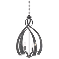 Quoizel OU5204OK Outlook 4 Light 21 inch Old Black Finish Foyer Chandelier Ceiling Light