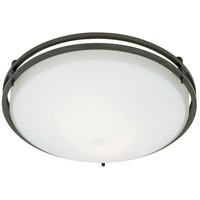 Ozark 2 Light 13 inch Iron Gate Flush Mount Ceiling Light in Opal Etched Glass