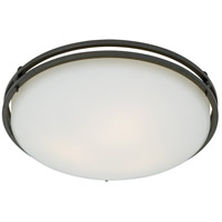 Ozark 3 Light 16 inch Iron Gate Flush Mount Ceiling Light in Opal Etched Glass