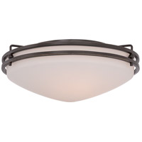 Ozark 3 Light 16 inch Palladian Bronze Flush Mount Ceiling Light in Etched Glass Painted White Inside
