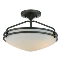 Ozark 2 Light 13 inch Iron Gate Semi-Flush Mount Ceiling Light in Opal Etched Glass