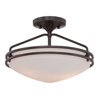 Ozark 2 Light 13 inch Palladian Bronze Semi-Flush Mount Ceiling Light in Etched Glass Painted White Inside