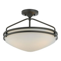 Ozark 3 Light 17 inch Iron Gate Semi-Flush Mount Ceiling Light in Opal Etched Glass