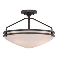Ozark 3 Light 17 inch Palladian Bronze Semi-Flush Mount Ceiling Light in Etched Glass Painted White Inside