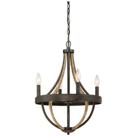 Quoizel PB5004TK Pembroke 4 Light 16 inch Tarnished Bronze Chandelier Ceiling Light in B10 Candelabra Base, Naturals