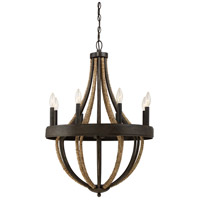 Quoizel PB5008TK Pembroke 8 Light 23 inch Tarnished Bronze Chandelier Ceiling Light in B10 Candelabra Base, Naturals