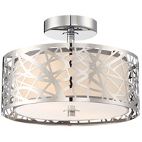 Platinum 2 Light 12 inch Polished Chrome Semi-Flush Mount Ceiling Light