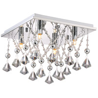 Platinum Crystal Drape 4 Light 13 inch Polished Chrome Flush Mount Ceiling Light