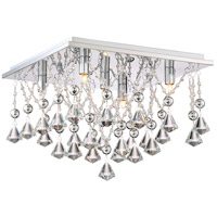 Platinum Crystal Drape 5 Light 15 inch Polished Chrome Flush Mount Ceiling Light