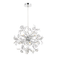 Platinum Crystal Leaf 8 Light 24 inch Polished Chrome Foyer Pendant Ceiling Light in Clear G9 Xenon