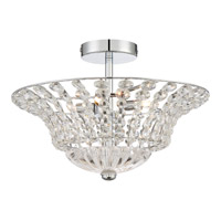 Platinum Crowne 4 Light 17 inch Polished Chrome Semi-Flush Mount Ceiling Light in Clear G9 Xenon