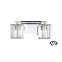 Platinum Divine 2 Light 14 inch Polished Chrome Bath Light Wall Light in Frosted LED G9