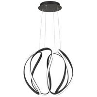 Waving LED 19 inch Earth Black Pendant Ceiling Light