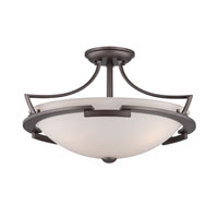 Quoizel Lighting Parkston 3 Light Semi-Flush Mount in Powder Grey PN1718PY