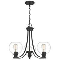 Quoizel PRUC5022MBK Pruitt 3 Light 22 inch Matte Black Chandelier Ceiling Light