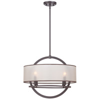 Portland 4 Light 20 inch Western Bronze Pendant Ceiling Light in Light Amber Organza Shade with Bronze Trim