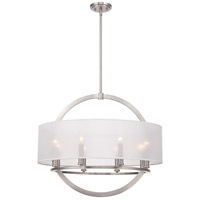 Portland 8 Light 28 inch Brushed Nickel Pendant Ceiling Light in Clear Organza Shade With Light Grey Trim