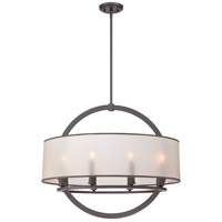 Portland 8 Light 28 inch Western Bronze Pendant Ceiling Light in Light Amber Organza Shade with Bronze Trim