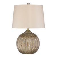 Signature 23 inch 100 watt Golden Table Lamp Portable Light in Gold Fabric