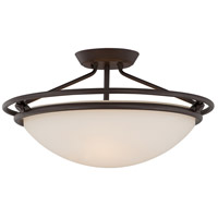 Signature 3 Light 20 inch Western Bronze Semi-Flush Mount Ceiling Light