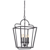 Quoizel Signature 4 Light Foyer Pendant in Mottled Black QF1820MB